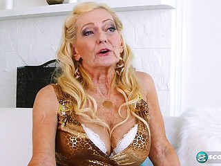 Blonde granny milf anal stuff in a wood barn 3